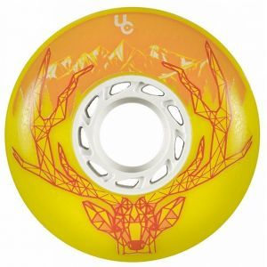 Undercover Deer Yellow Inline Skate Wheels - 76mm 86a Set of 4