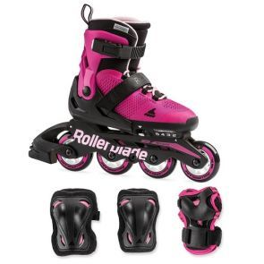 Rollerblade Microblade Kids Skates Combo Pack - Pink/Bubble Gum