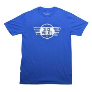 Slick Willies Garage Sign T Shirt - Blue