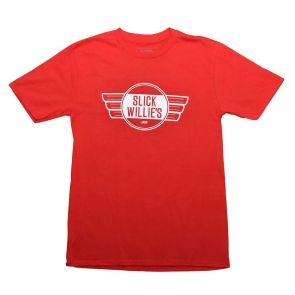 Slick Willies Garage Sign T Shirt - Red