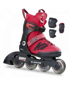 K2 Raider Pro Kids Skate Pack Adjustable Size Skates - Red