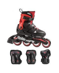 Rollerblade Microblade Kids Skates Combo Pack - Black/Red