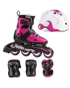 Rollerblade Microblade Kids Skates Cube Pack - Pink/Bubble gum